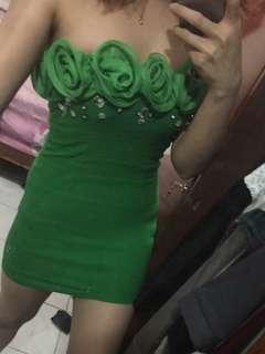 Flower Green Mini dress