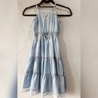 6 - 7 girls denim maxi dress