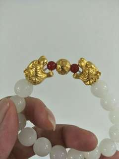 999gold tiger white bead
