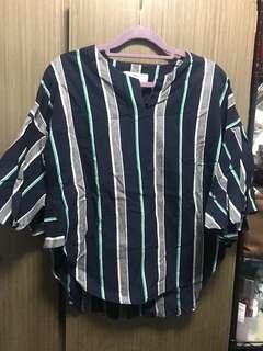 韓貨 藍綠直間喇叭袖衫