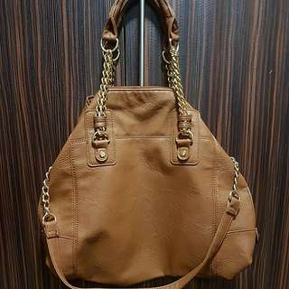 caramel tote bag with sling