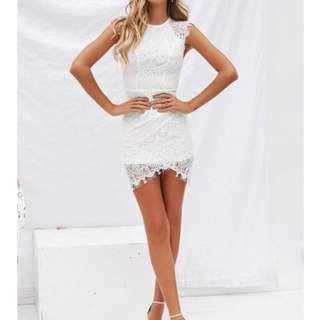 Mia White Lace Mini Dress Size 6