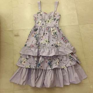 Light Purple Flowers Ruffles Dress 連身裙