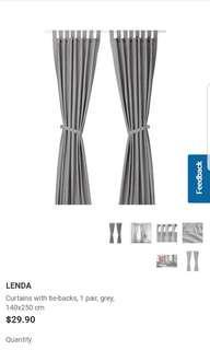 Brand New Ikea Lenda Curtains In Grey