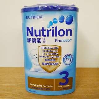諾優能金版幼兒成長配方奶粉3(1-3歲適用)900克  Nutricia Nutrilon 3 growing up formula (from 1-3 years) Pronutra+ 900g