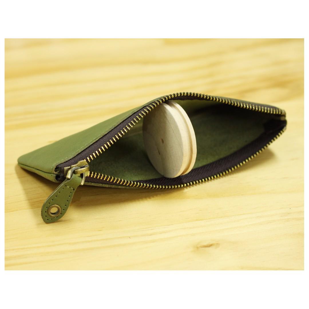 <<Final sale>>銀革手作 意大利 植鞣革 軟植鞣 頭層牛皮 拉鏈 化妝袋 筆袋