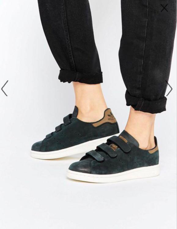san francisco c2192 773d9 Adidas Originals Black Nubuck Leather Stan Smith Trainers ...