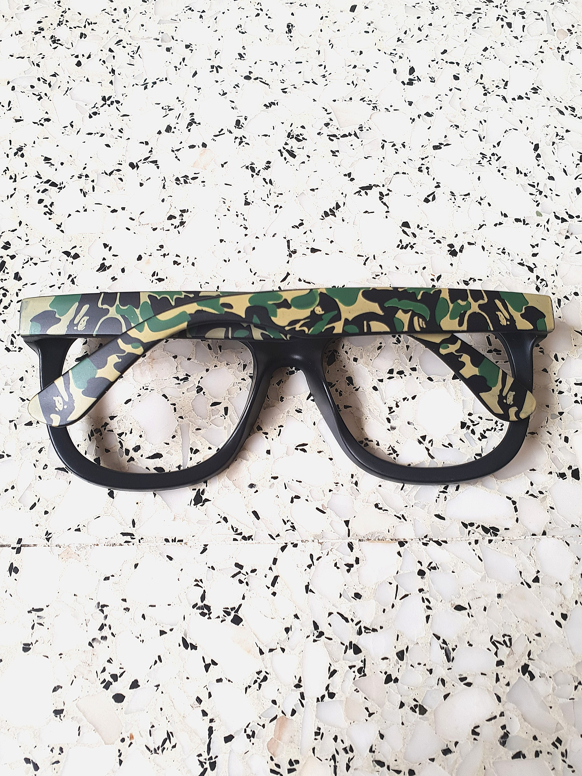 0b4046bc1fbd BAPE A BATHING APE GREEN CAMO CAMOUFLAGE GLASSES FRAME BLACK