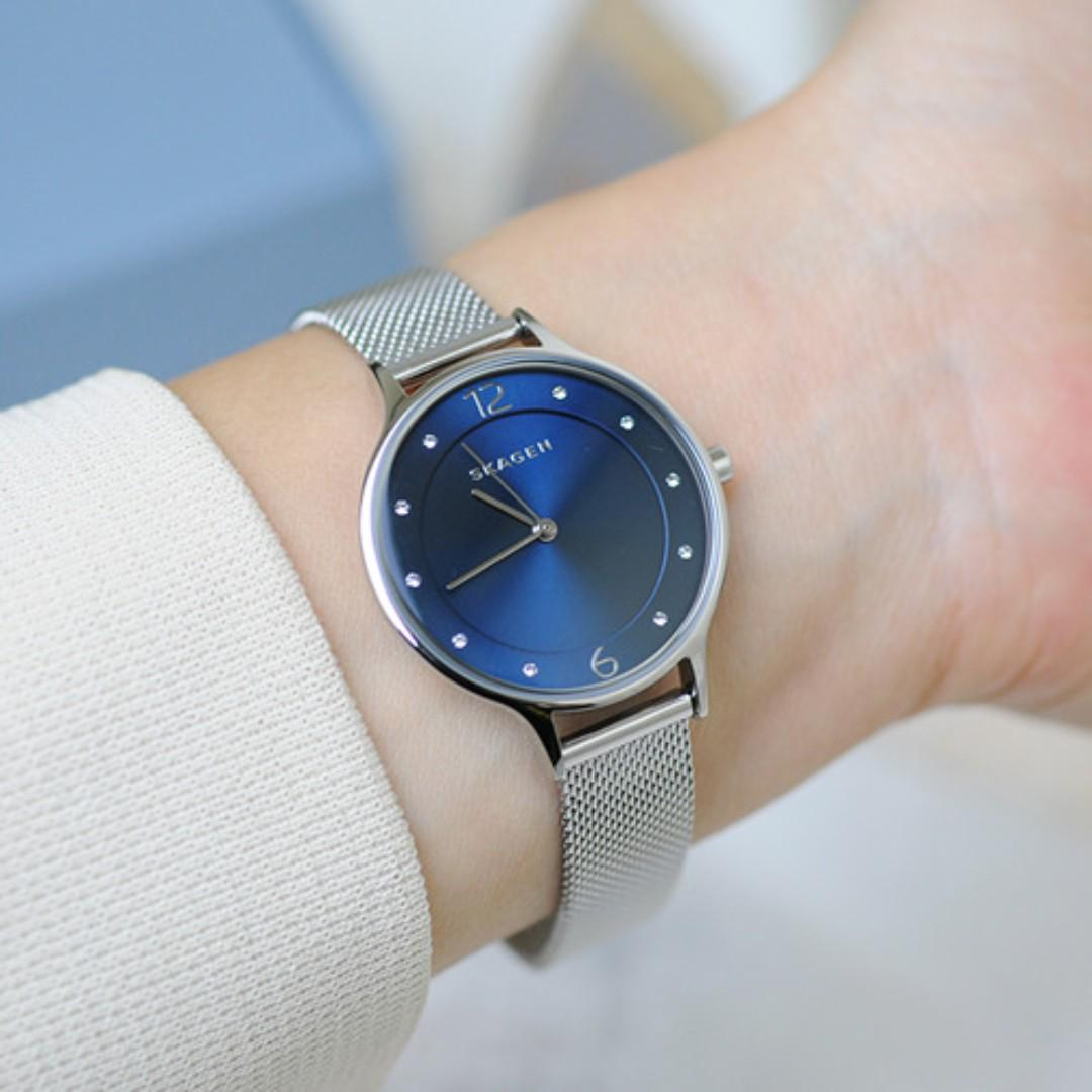 [BNIB] Skagen Anita Blue Dial Stainless Steel Mesh SKW2307 Women Watch