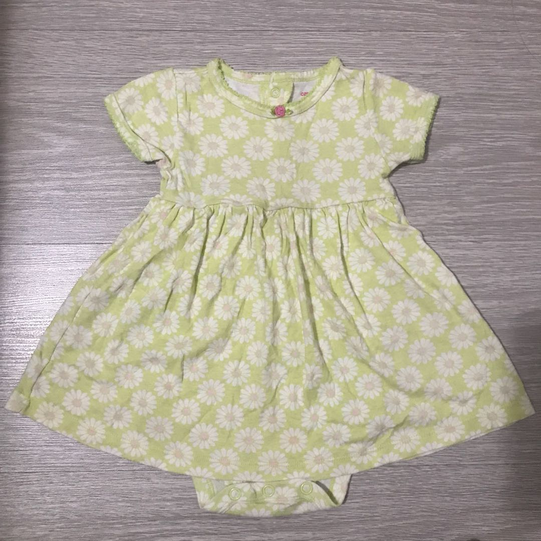 68d0bf655 Carters green with white and pink flowers dress romper