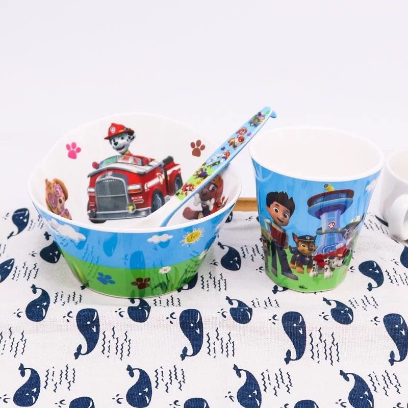 Cartoon Bowl Spoon Cup Set Paw Patrol