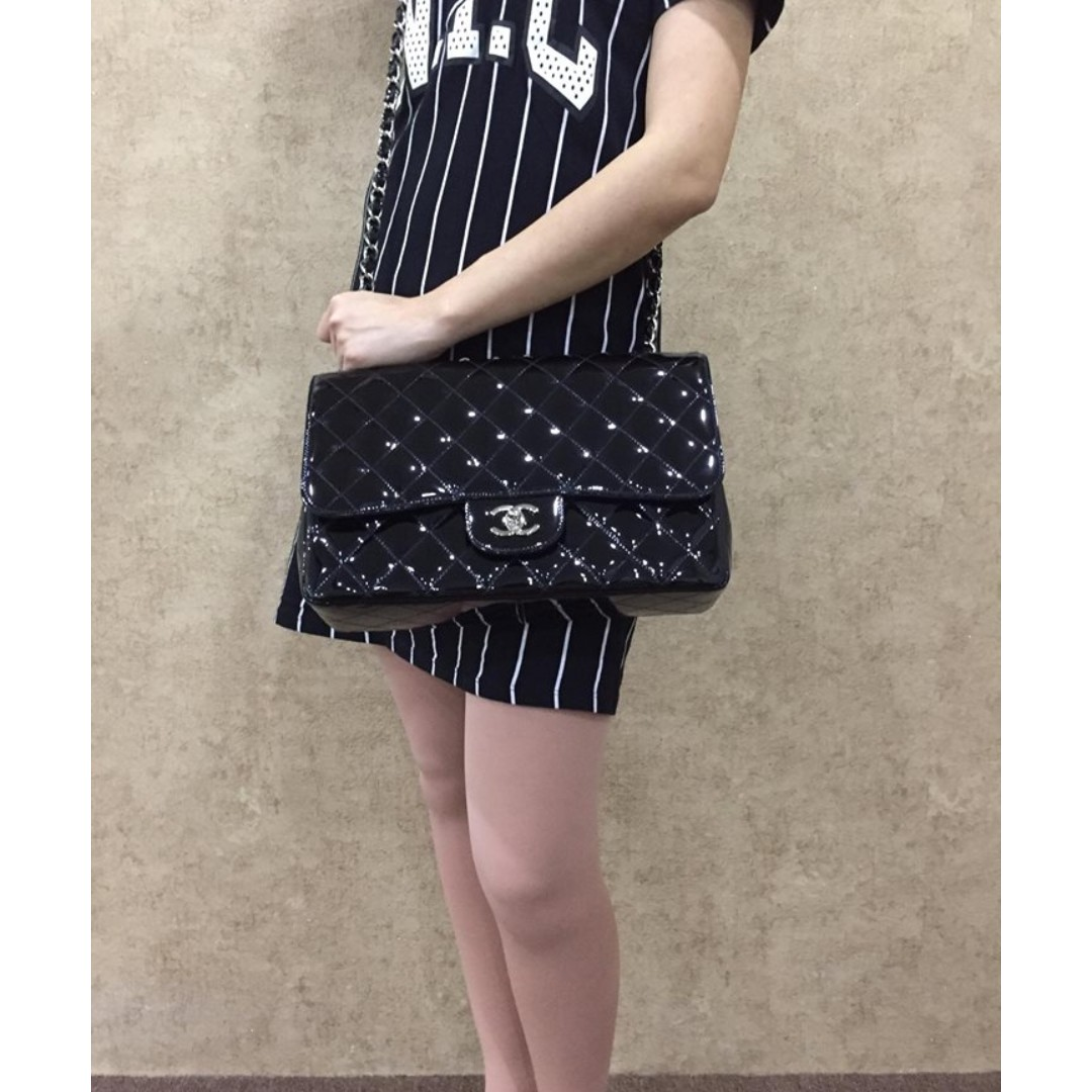 13c4b4714b20 CHANEL PATENT LEATHER QUILTED CLASSIC JUMBO SINGLE FLAP BAG, Luxury, Bags &  Wallets on Carousell