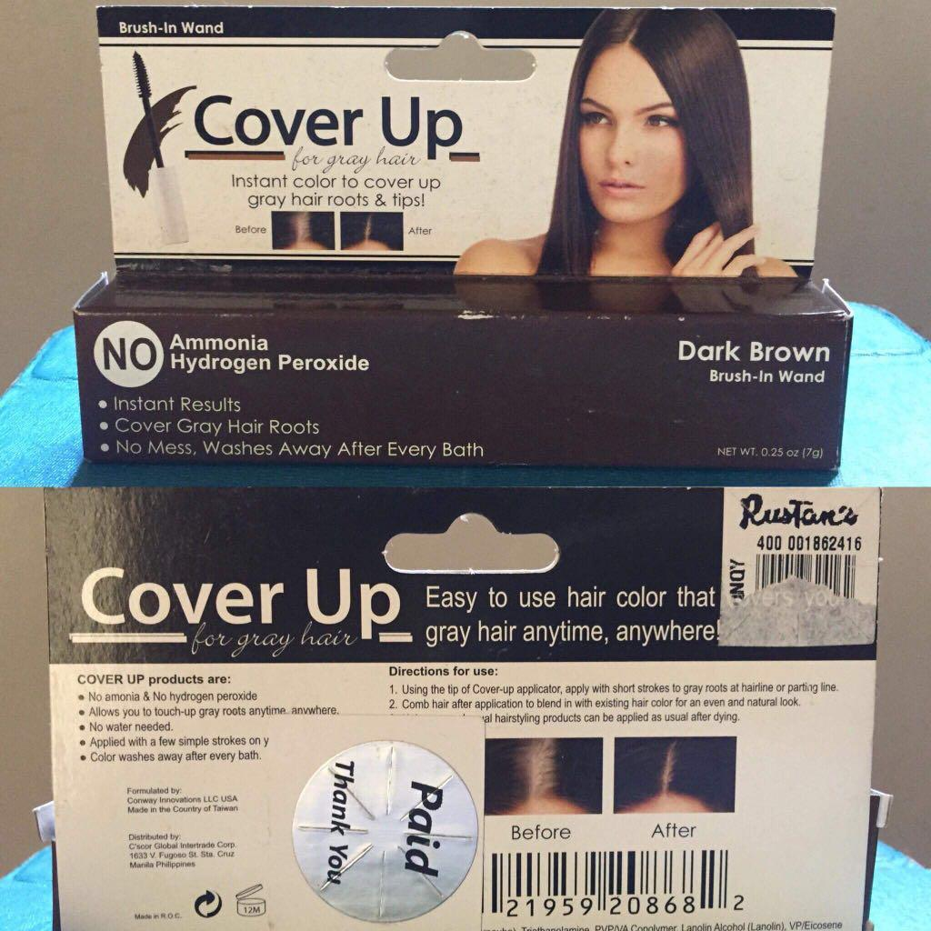 Cover Up Brush In Wand For Grey Hair - Dark Brown Color on Carousell
