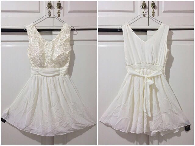 Dress Pesta Putih Tosca Women S Fashion Women S Clothes Dresses