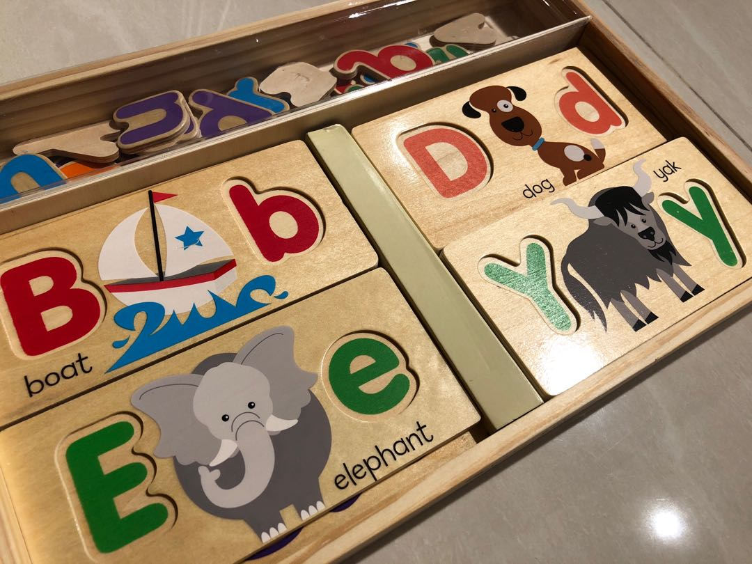Educational Toy With 13 Double Sided Wooden Boards And 52 Letters