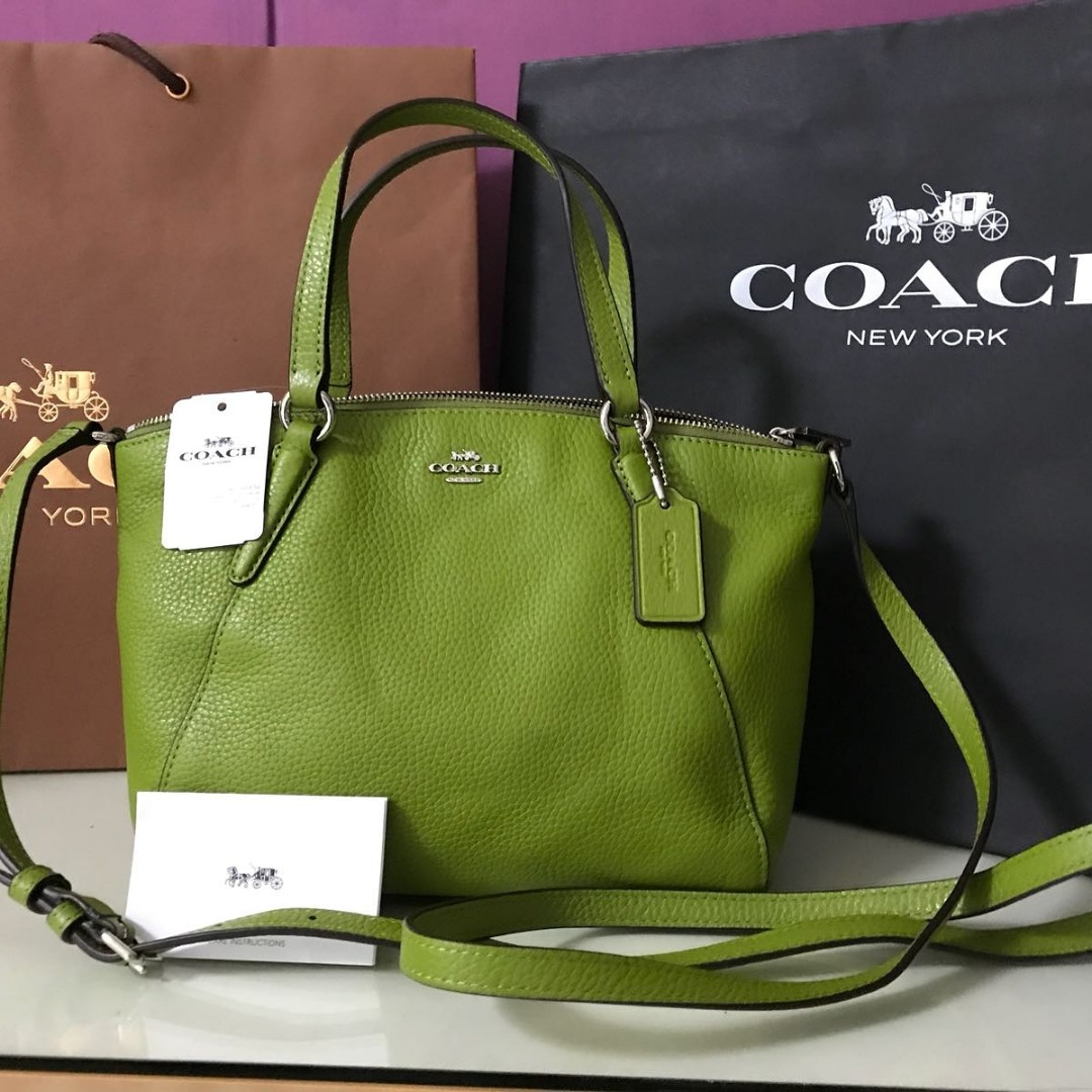 ... italy instock beautiful leather coach bag in yellow green colour luxury  bags wallets handbags on carousell ... 6de95843c166b