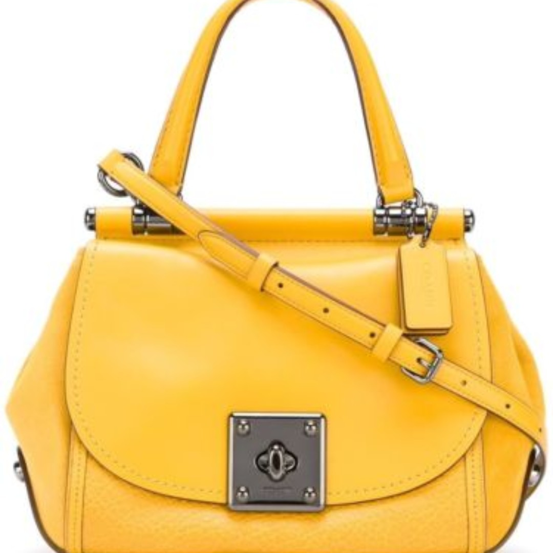 124ac5ad01 ... best price new coach f38388 drifter mixed leather satchel handbag  crossbody flax yellow bag msrp us495