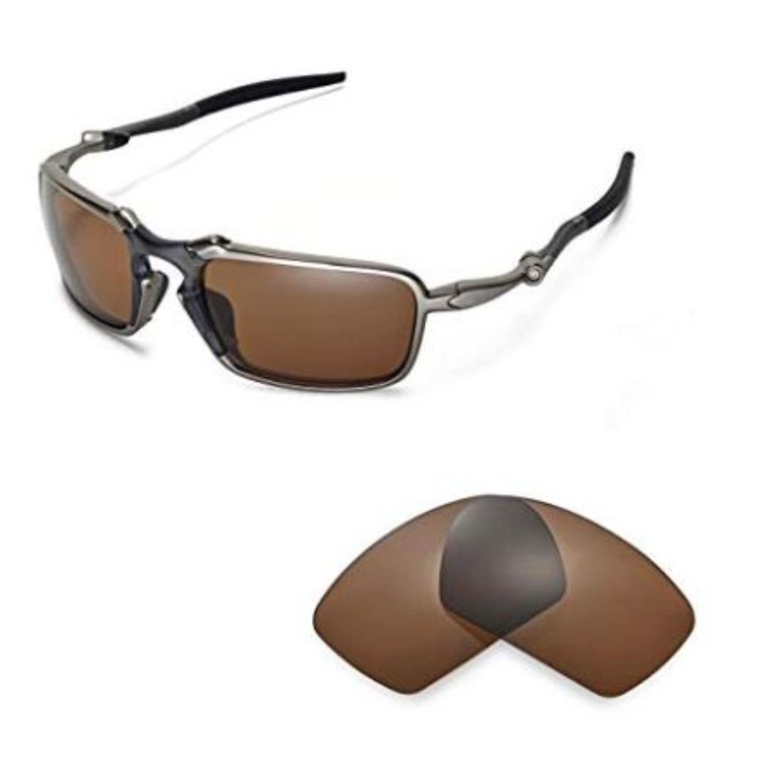41bff79b610 New Walleva Polarized Brown Replacement Lenses For Oakley Badman Sunglasses  BNEW
