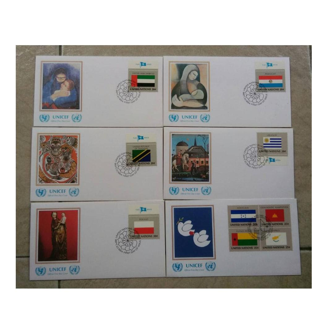 UNITED NATION UNICEF flags series FDC 6 covers BL667