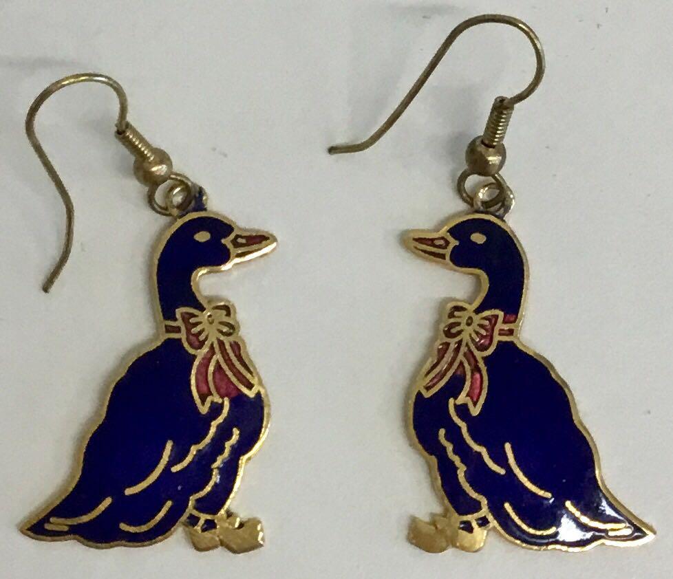 Vintage Cloisonné Duck Earrings 1980's