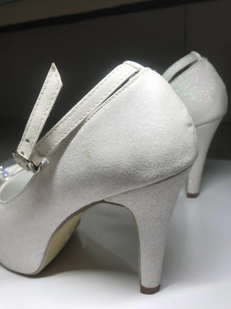 0f0df23984e White shimmering wedding high heels