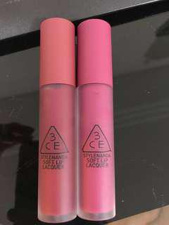 3CE Soft Lip Lacquer MIDNIGHT BOTTLE AND ALMOST MAUVE