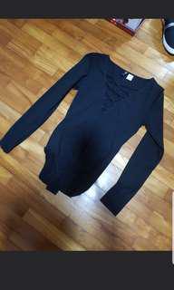 Black F21 bodysuit