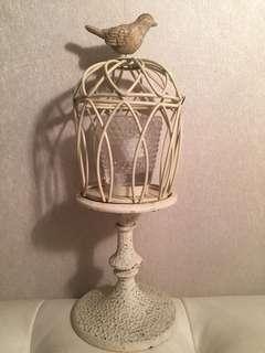雀仔米白色蠟燭擺設