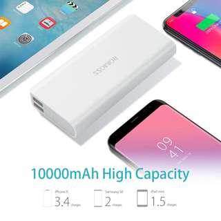 ROMOSS 10000mAh Portable Charger, Sense 4 Power Bank, Dual Output External Battery Packs Compact Slim Thin for iPhone, iPad, Samsung and More, White