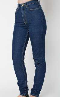 American Apparel High Waisted Dark Rinse Jeans