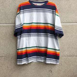 義大利製 SAINT LAURENT PARIS 彩色條紋上衣 T-shirt YSL 聖羅蘭