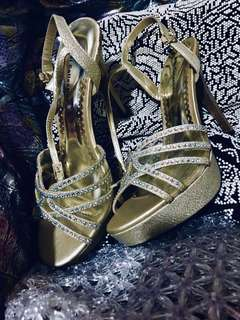 Formal D'Orsay Cut Strappy Evening Sandals - Gold High Heels Encrusted With Holographic Gems and Glitter Wash