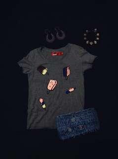 🍭Paillette Ice Cream Popsicle Baby Tee - Soft Stretch Grey 2D Pop Art T Shirt