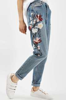 Topshop flower embroidered jeans
