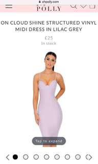 Oh Polly Lilac Grey Vinyl Dress