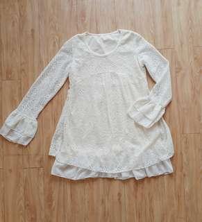 White Flowing Ruffle Dress
