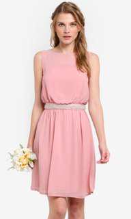 BNWT Zalora Embellished Waist Tie Dress (Nude Pink/Red)