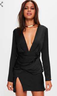 Missguided silky long sleeve dress