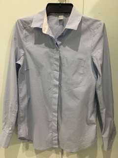 H&M blue pinstripe blouse