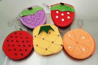 全新拉鍊水果/生果小錢包5個 Brand new small pouch/ wallet with zip (fruits) 5 pieces