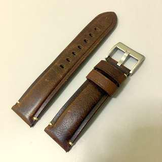 22mm Genuine Brown Leather Strap (High Quality)