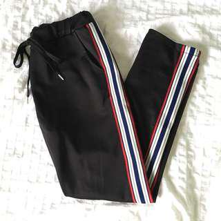 Zuiki Black Joggers with Side Stripes