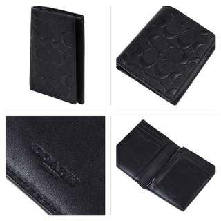 New Authentic Coach F11970 Men's Slim Wallet In Signature Crossgrain Leather