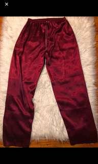 Maroon silk pants