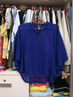 FOREVER21 Blue Chiffon Top