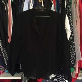 Zara Black Semi-sheer Top
