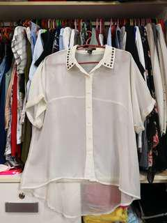 FOREVER21 studded collar see thru white top