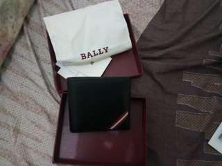 Authentic black leather Bally wallet men
