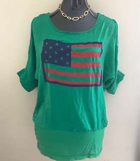 American Flag Blouse (has holes on sides-design)