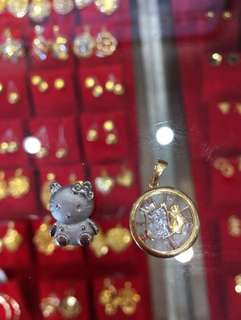 Hello Kitty and Chinese Horoscope 18K Gold Pig Necklace Pendants